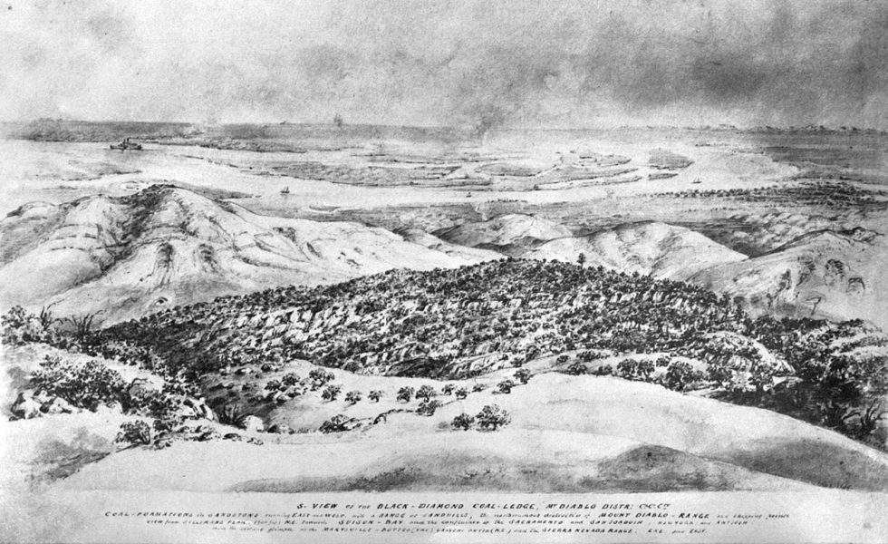 Engraving from the hills behind Nortonville, California, looking toward Black Diamond Landing, California