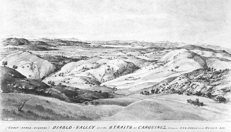 1870 engraving from the hills behind Nortonville, California, looking toward Clayton, California