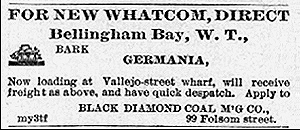 Ad for Bark Germania, Bellingham Bay