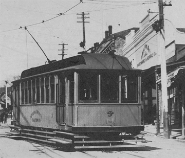 Trolly at the Alpha Building 1907, Grass Valley, CA