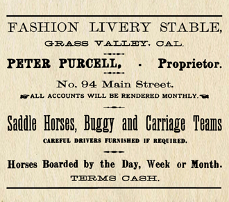 1886 Fashion Livery Stable ad