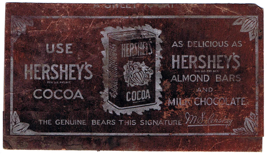 Back of Hershey's wrapper from 1920's.
