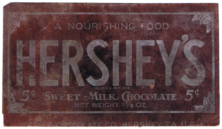 Front of Hershey's wrapper from 1920's.