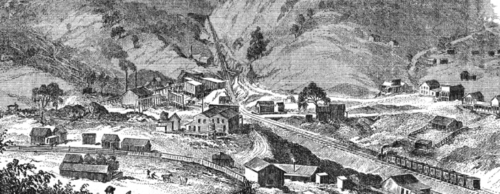 Nortonville, California from an 1869 engraving.
