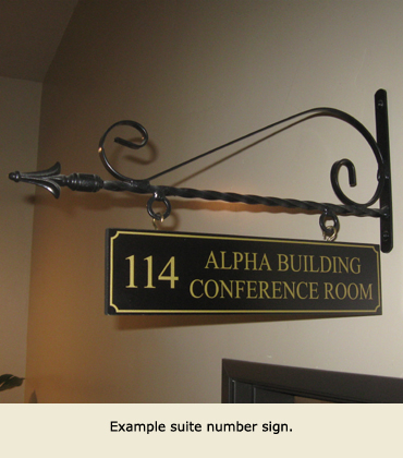 Example suite number sign in the Alpha Building.