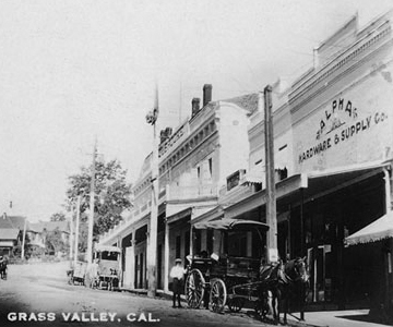 Early Postcard Downtown Grass Valley, CA showing the Alpha Building
