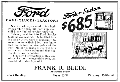 June, 1924 Advertisement for Beede Ford