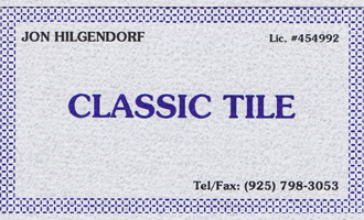 Business card of Jon Hilgendorf d.b.a. Classic Tile and Construction