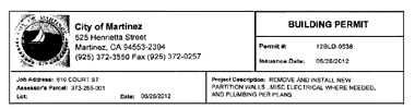 City of Martinez Building Permit