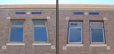Before and after trim paint at 630 Court Street