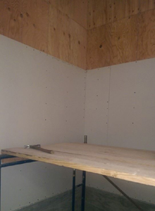 Sheetrock added to the elevator shaft.