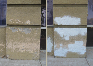 Repairing missing stucco top coat with stipple paint.
