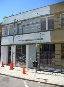 Scaffold set-up for exterior painting at 610 Court St., Martinez, CA.