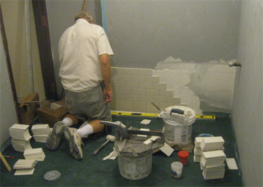 Work commenced on installing tiles in the upstairs restrooms.