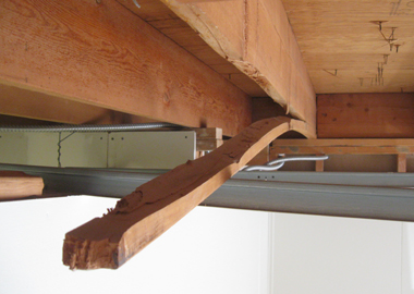 A split roof rafter.
