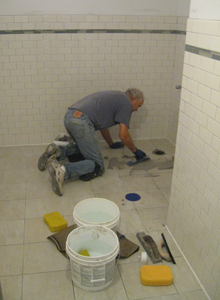 Tiles receiving grout.