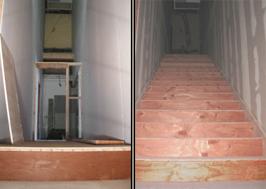 Before and after photos of the emergency stairway.