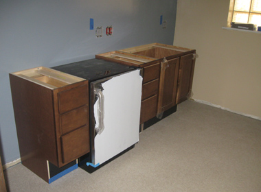 ADA compliant cabinets installed in the Break Room.