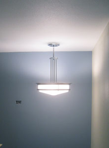 Streamline Moderne style light in the main stairwell.