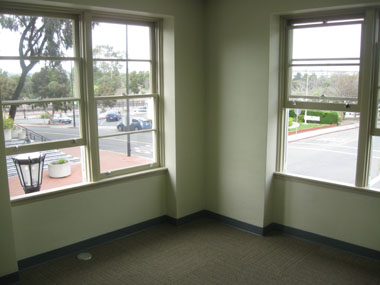 A corner office after construction was completed.