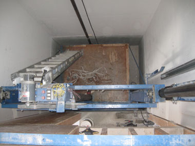 The floor of the elevator car after construction.