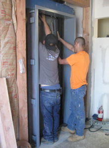 Installation of elevator doors.