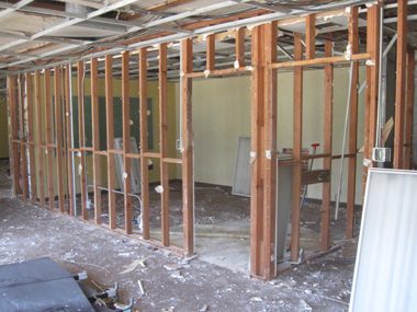 Interior demolition on the second story.