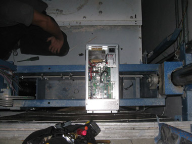 Electronics in panel above the elevator car.