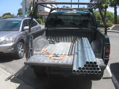 Load of electrical coduit pipes.