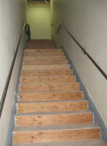 ADA compliant hand rails for the emergency egress stairway.