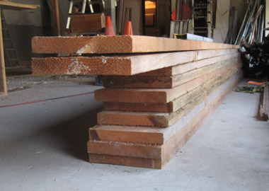 Rough sawn lumber supplied by Berry's Sawmill in Cazadero, CA.