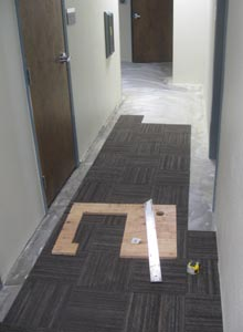 Carpet tiles are installed in the downstairs common area hallway.