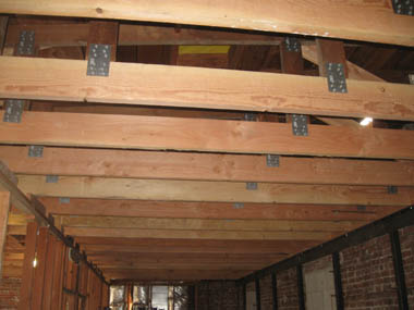 Repaired roof trusses.