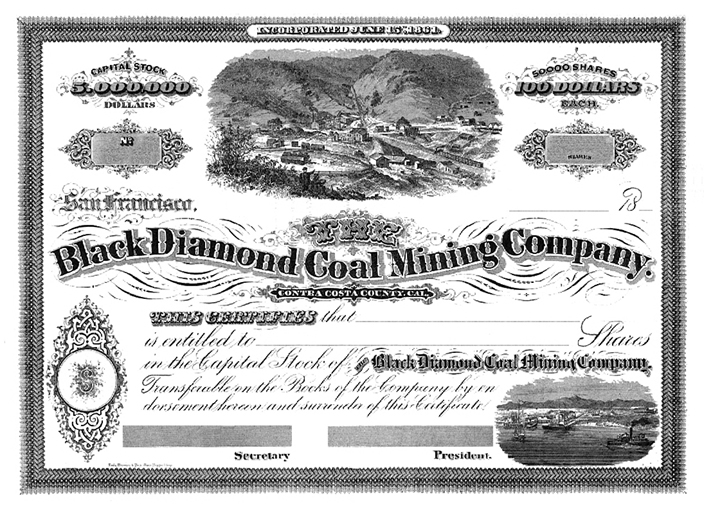 Black Diamond Coal Mining Company stock certificate